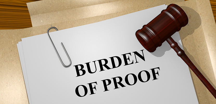 BURDEN OF PROOF on legal document